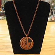 SALE 1950's Solid Copper Southwest Design Necklace-Book Piece