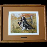 "SALE Beautiful Signed Framed Robert K. Abbett ""English Spring & Pup"" Print"
