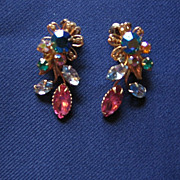 SALE Beautiful Multi-colored  Clip Rhinestone Earrings