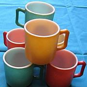 SALE 1950's Hazel Atlas Kiddie  Ware Glass Mugs Set Of Ten