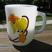 SALE Anchor Hocking Fireking Glass Cockatoo Mug