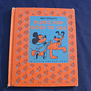 "SALE The The Golden Library Cloth Book ""Walt Disney's Pluto Pup Goes To Sea"""