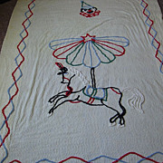 SALE 1950's Chenille Yellow Carousel Clown Twin Bedspread