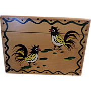 SALE Wood Pecker Woodware Rooster Recipe Box