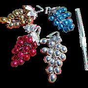 SALE Christmas Mercury Glass Grape Clusters