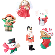 SALE Hallmark Plastic Christmas Pin Lot 3