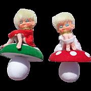 SALE Adorable Knee Hugger Pixie Toadstool Christmas Ornaments