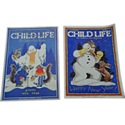 SALE January 1930's Child Life Children Magazine Set Of Two