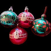 SALE Hand Painted Poland Glass Ornament Set