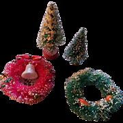 SALE Christmas Miniature Bottle Brush Wreaths and Trees Set