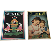 1930's April Child Life Magazine Set Of Two
