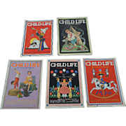 SALE 1930's July Child Life Magazine Set of Five