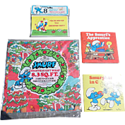 SALE The 1980's Smurf Collection Christmas Wrapping Paper Set
