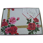 SALE New Stevens Simtex Ribbon Rose Red Tablecloth Set