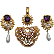 SOLD 1993 Avon Shaill Jhavari Imperial Elegance Pendant and Clip Earrings Set