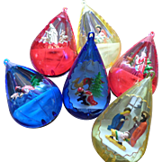 SALE Plastic Jewelbrite Diorama Christmas Ornament Set