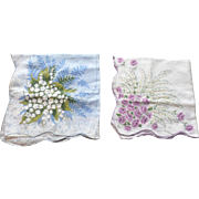 SALE Scalloped Lilly of the Valley Flower Hankerchief Set
