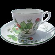 Bavaria Schumann Arzberg Germany Porcelain Strawberry Cup and Saucer Set