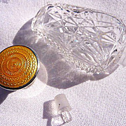 SOLD RESERVED RESERVED English hallmarked sterling and yellow guilloche top crystal perfume sc
