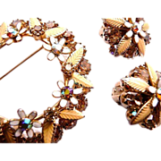 WEISS rhinestone and hand enameled brooch and earrings signed