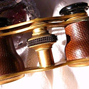 SOLD R E S E R V E D  for D A V I D Gentleman's antique leather and brass field/opera glasses