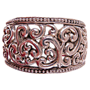 Vintage cast sterling tribal bohemian cuff
