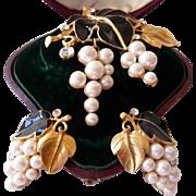 Kunio Matsumoto Trifari grapes and leaves brooch and earrings Very Rare