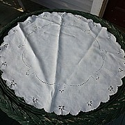 """SALE Embroidered Broderie Anglais White Linen 24"""" Round"""