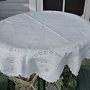 "SALE Embroidered Broderie Anglais White Linen 46"" Round"