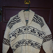 SALE Vintage Shawl Collar Cowichan Indian Curling Sweater with Label