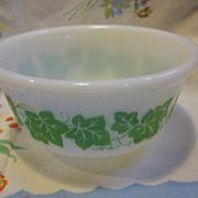 "Hazel Atlas Milk Glass Ivy Pattern  Mixing Bowl 6"""