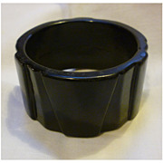 Jet Black Art Deco Geometric Hard Plastic Bangle
