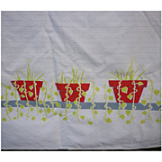 SALE Red Flowerpots Herbs and Vines Border Vintage 50s Print Tablecloth