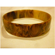 Mississippi Mud Swirl Slim Bakelite Bangle Bracelet