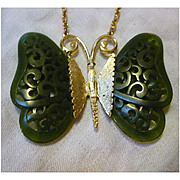 Deep Jade Green Carved Lucite Wings Rhinestone Eyes Asian Butterfly Necklace Vintage Gold Crow