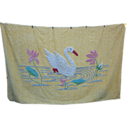 SOLD Swan Lake and Water Lilies Vintage Chenille Spread for Day Bed
