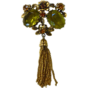 Elaborate Austrian Large Yellow Green Stones and Rhinestones with Tassels Brooch
