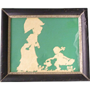 Lady with Parasol and Little Girl with Watering Can Silhouette in Frame