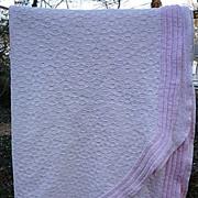 SALE Morgan Jones Pale Pink Chenille and Woven Vintage Bedspread