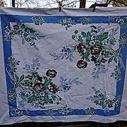 SALE Fiatelle Dark Red Blue Green Flowers Vintage 1950's Print Tablecloth