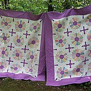 SALE Matched Pair 1930's Fabrics and Purple Aster or Sunflower Quilts