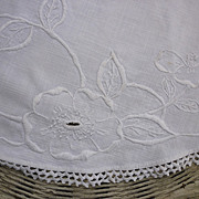 SOLD Arts & Crafts Embroidered Floral White Linen Round Centerpiece