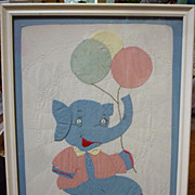 SALE Elephant with Balloons Doll Quilt Framed for Nursery