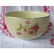 Hall China 9 inch Pink Mums Radiance Mixing Bowl