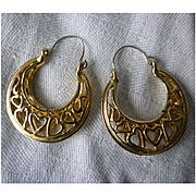 SALE Openwork Sweet Hearts Large Goldtone Hoops Pierced Earrings