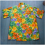 Groovy Orange Yellow Green Purple White Sun Fashions of Hawaii Vintage Hawaiian Aloha Surfer S