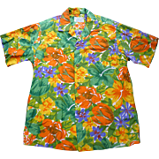 SOLD Groovy Orange Yellow Green Purple White Sun Fashions of Hawaii Vintage Hawaiian Aloha Sur