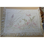 Tropical Wading Birds and Water Lilies Embroidered Linen
