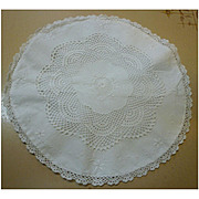 Embroidered Crochet Lace Inserts White Linen Round Pillow Case Cushion Cover