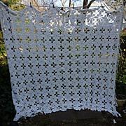SOLD Heavenly Popcorn Pattern Open Cross Hand Crochet Bedspread